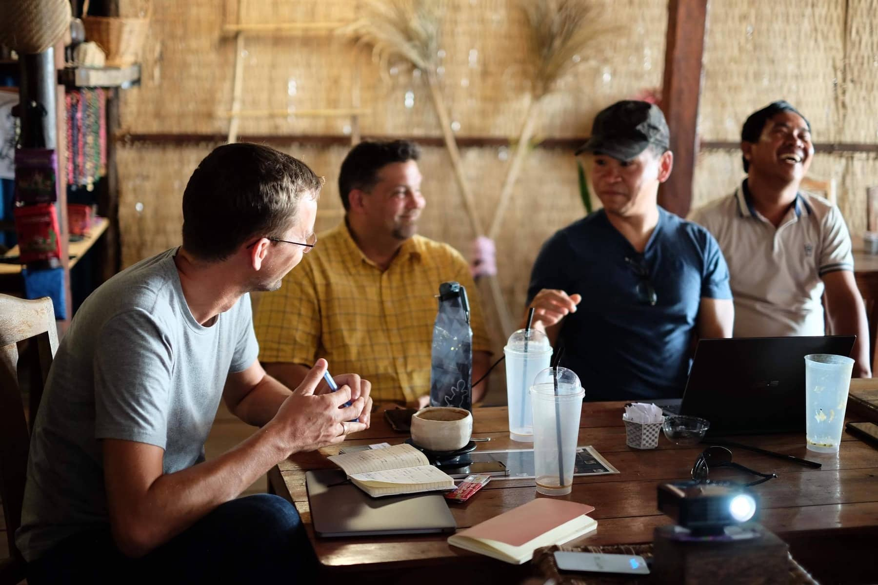 A missionary telling a story in Cambodia